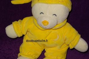 Doudou ours Gipsy jaune, lune, 30 cm, velours, doudoupeluche.fr