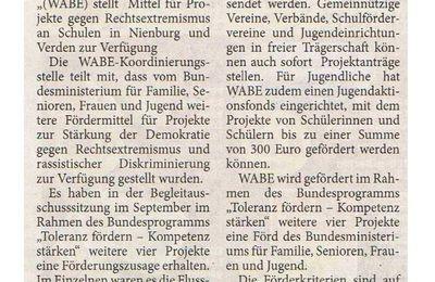 Harke 9.10.14 -- WABE vergibt Mittel gegen Projekte gegen Rechtsextremismus