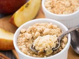 Recette pour 6 personnes / Crumble pommes & rhubarbe - prépa 15 mn - cuisson 30 mn -