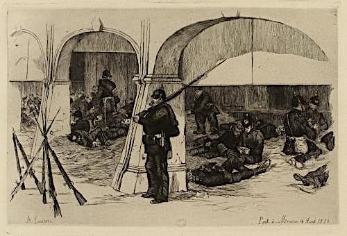 Soldats allemands à Pont-à-Mousson le 14 août 1870, dessin d'Auguste Lançon, Musée Carnavalet.