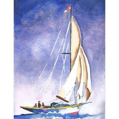 Aquarelle: voilier