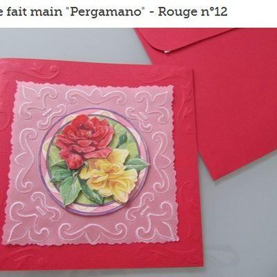 "Carte fait main ""Pergamano"" - Rouge n°12"