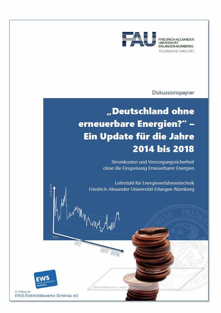 Titelblatt der Studie 'Deutschland ohne erneuerbare Energien?'