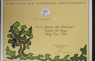 Médaille d'Argent au Concours des Vignerons Indépendants 2016