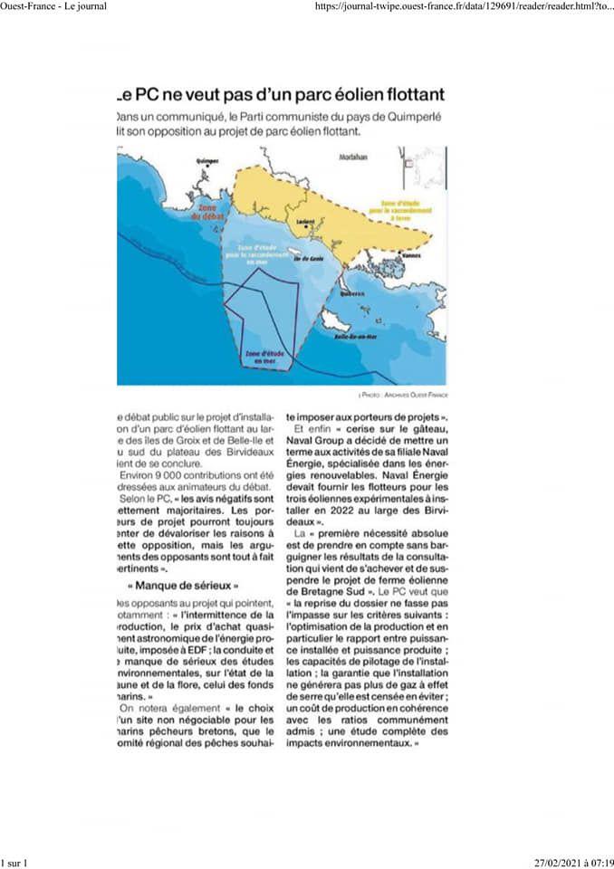 Le PCF pays de Quimperle ne veut pas d'un parc éolien flottant au large de Groix de Belle-Ile ( Ouest-France et le Télégramme du 27/02/2021)