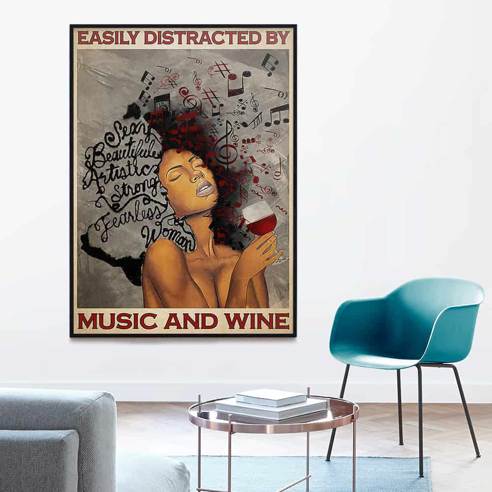 Afro Woman Easily Distracted By Music And Wine poster, canvas
