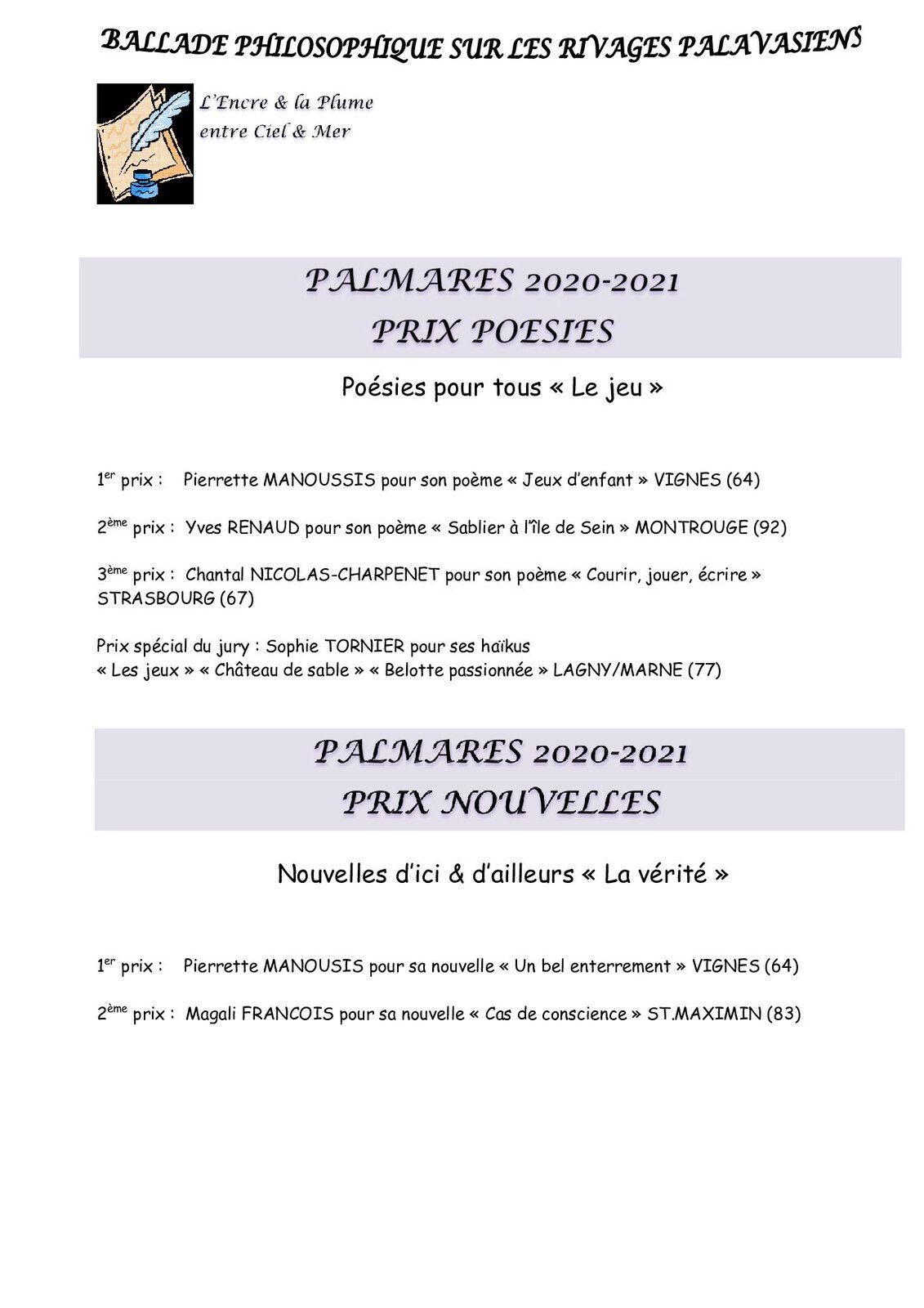 """CONCOURS """"L'ENCRE & LA PLUME ENTRE CIEL & MER"""" saison 2020-2021"""