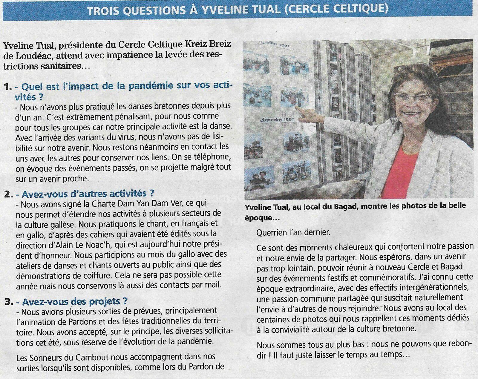 Trois questions à Yveline TUAL, présidente du Cercle Celtique Kreiz Breiz de Loudéac