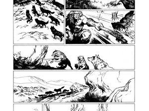 Planches extraites du Tome 1, en noir et blanc et en couleur, proposée par Emmanuel Roudier sur son Néandertal Blog.