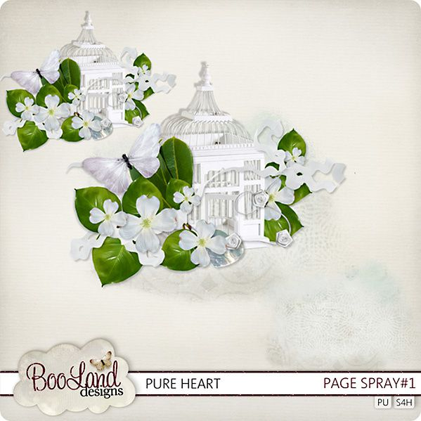 """Kit de scrapbooking """" Pure Heart """" (Page and Mask)"""