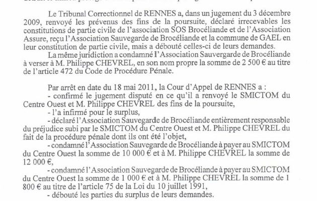 Le TGI de Vannes prononce la liquidation judiciaire de l'association Sauvegarde de Brocéliande
