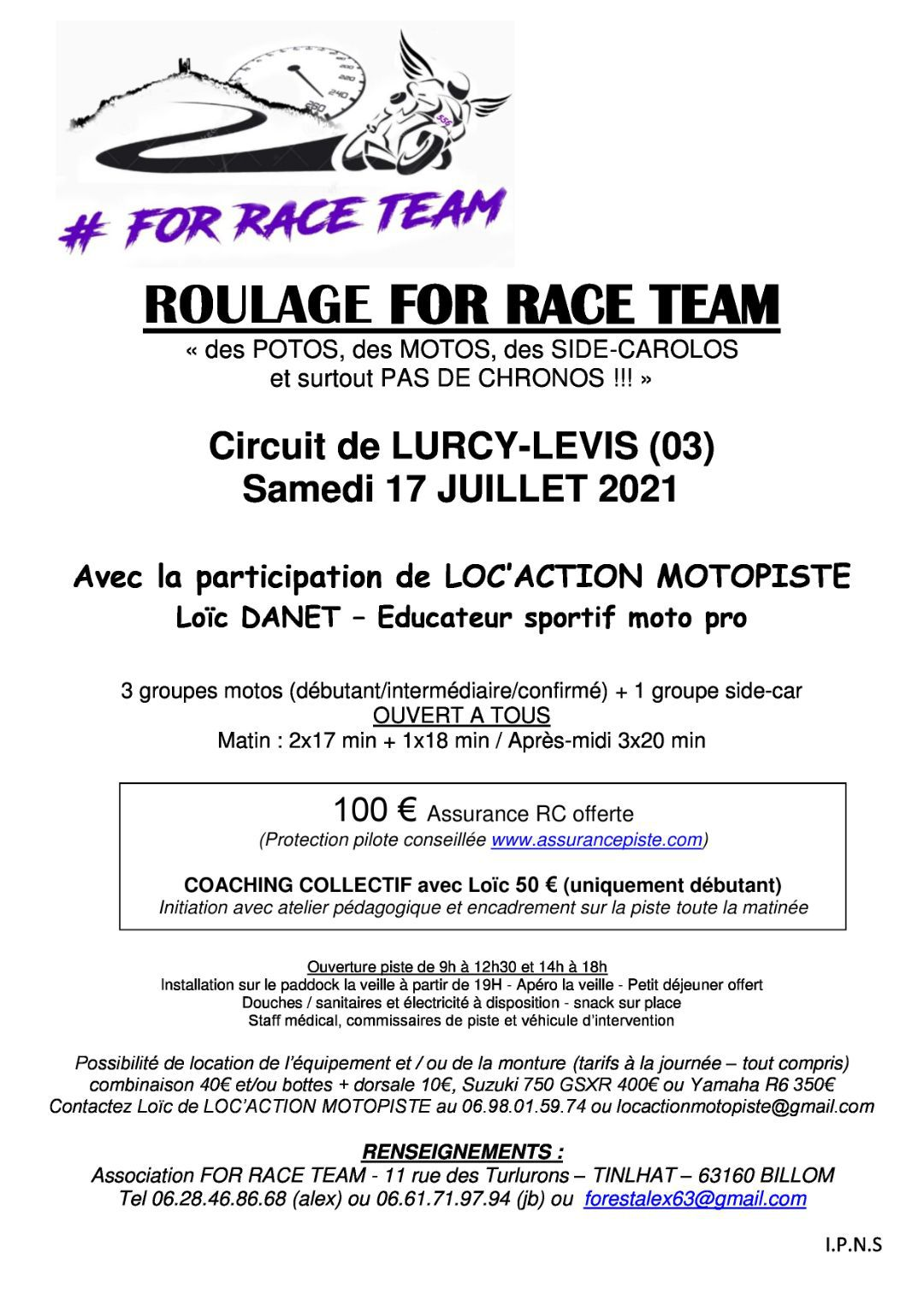Roulage For Race Team  Lurcy Levis