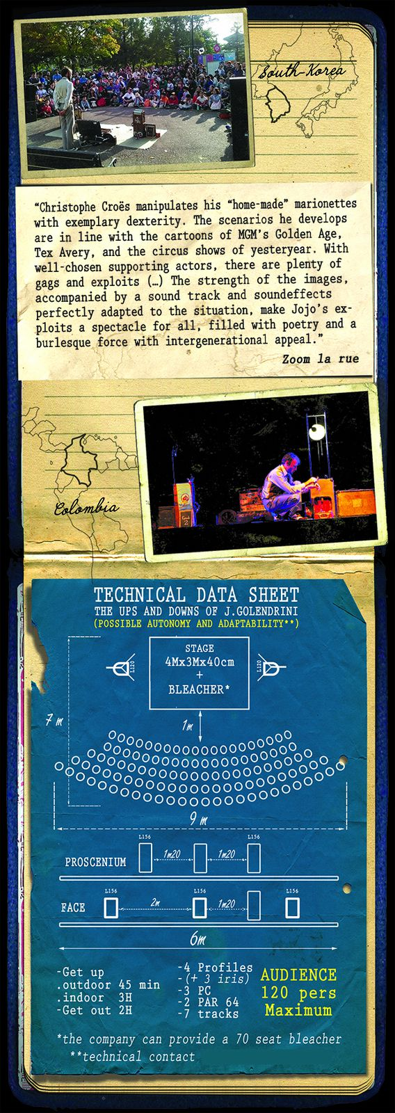 The ups and Downs of J.GOLENDRINI press book / tecnical data sheet