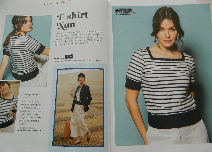 Avant même d'ouvrir le magazine, j'ai craqué pour ce petit haut très sympa à l'encolure carrée ....le tee-shirt Nan