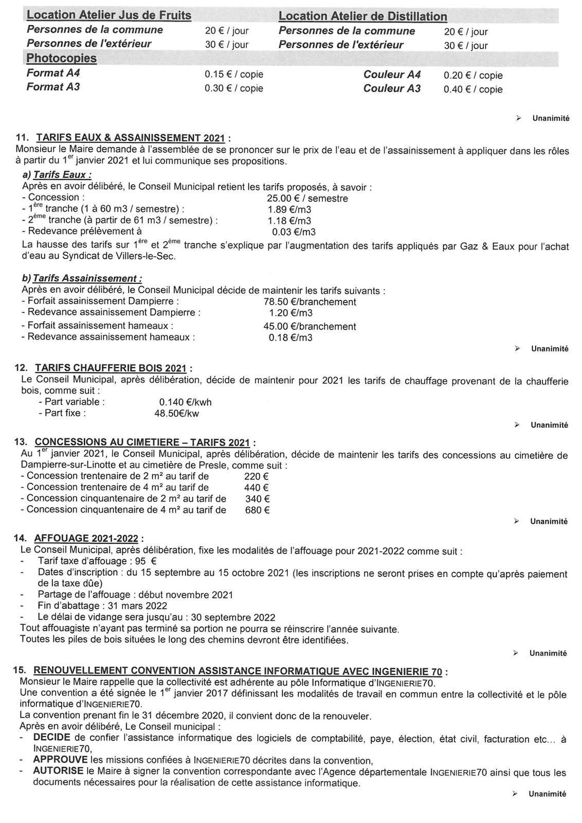 Compte-rendu Conseil Municipal du 14/12/2020