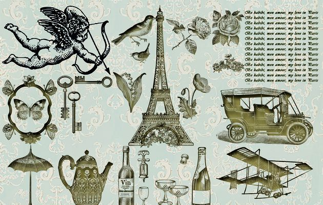 Kit scrapbooking - Saint Valentine's Day Vintage - Be Habibi, mon Amour, my Love in Paris