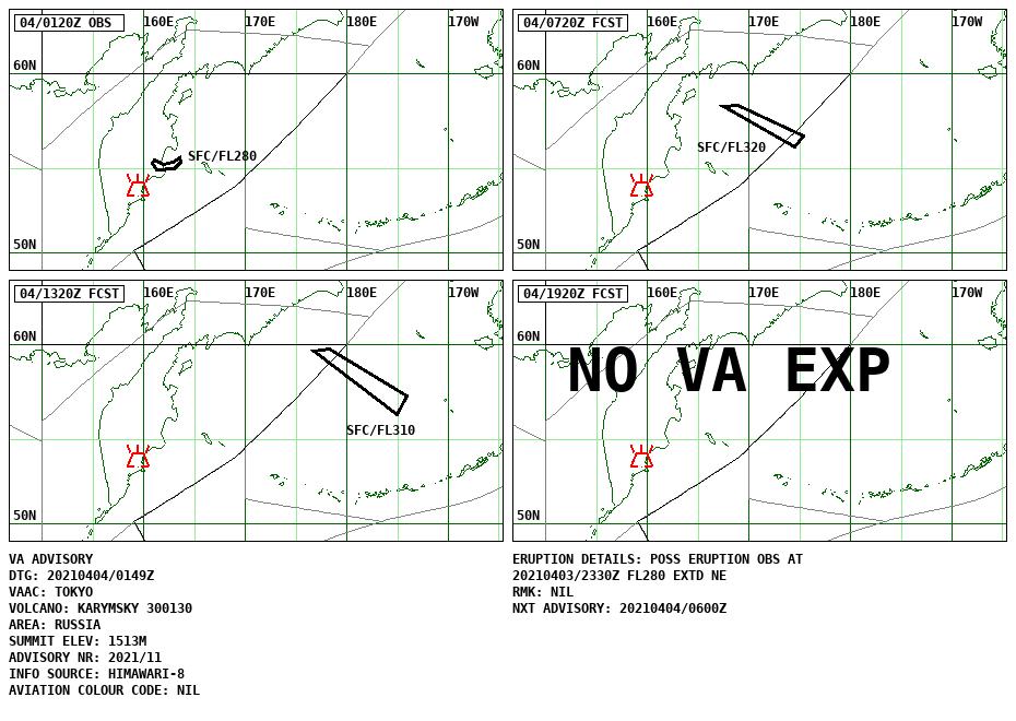 Karymsky - volcanic ash advisory for 04.04.2021 - Doc. VAAC Tokyo