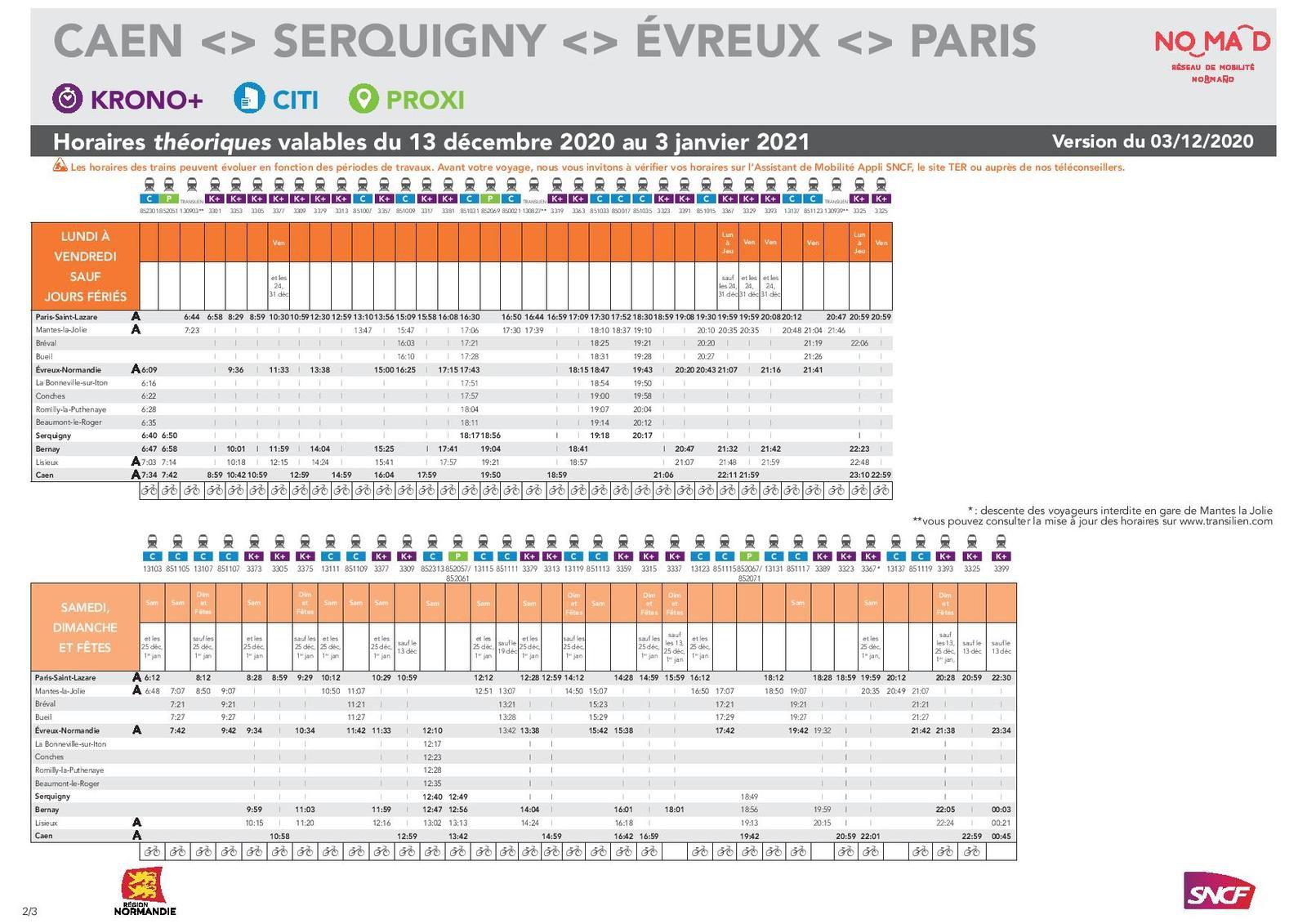 CAEN >Lisieux > Evreux > Paris