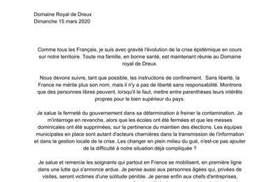 Communiqué du comte de Paris sur la crise épidémique