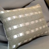 Burlap and Ribbon Pillows - PBish(?) - * THE COUNTRY CHIC COTTAGE (DIY, Home Decor, Crafts, Farmhouse)
