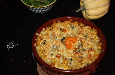 Gratin de pâtes au poulet, potimarron et cantal