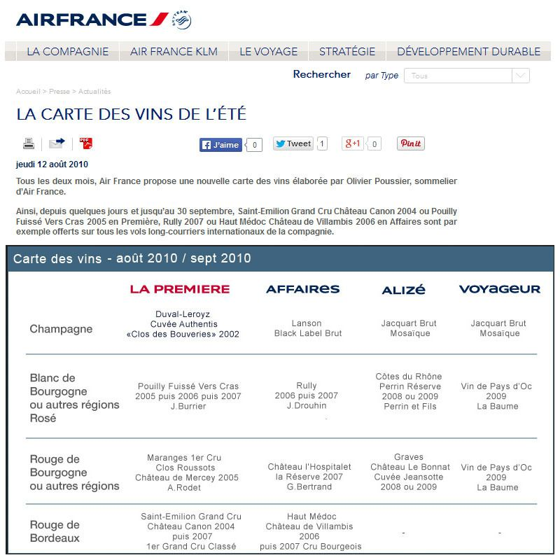 Archive Web Air France 2010