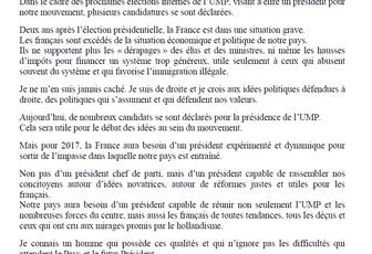 UMP: Roland CHASSAIN parraine NICOLAS SARKOZY