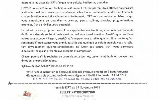 Journée EFT à Niort le 17 novembre avec Sylviane DUPAS DEMAZURE
