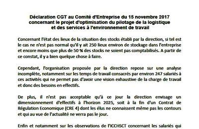 Déclaration du CE sur le projet d'optimisation de la logistique