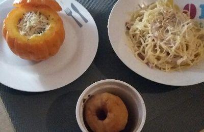 Mini jack o little en cocotte, spaghetti sauce alfredo