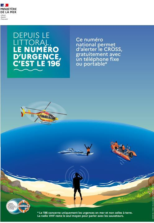 Le n°de téléphone 196 concerne les urgences en mer exclusivement.