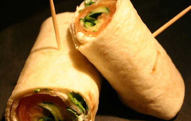 Recette n°48 : Petits wraps de saumon, tagliatelles de courgette et Philadelphia.