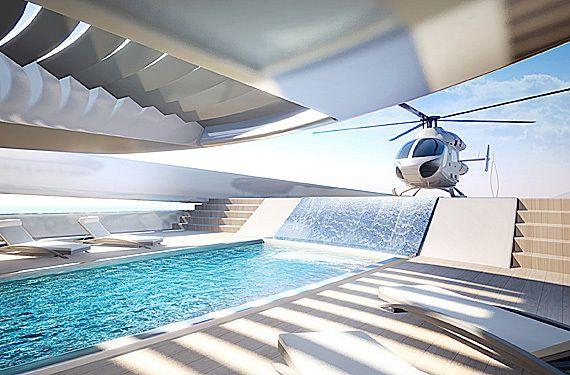 Yachting - Oceanco dévoile un projet de super-yacht doté d'une... chute d'eau !