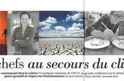 """Interview d'Olivia Gautier dans Femme Actuelle n°1620 """"les chefs au secours du climat"""""""