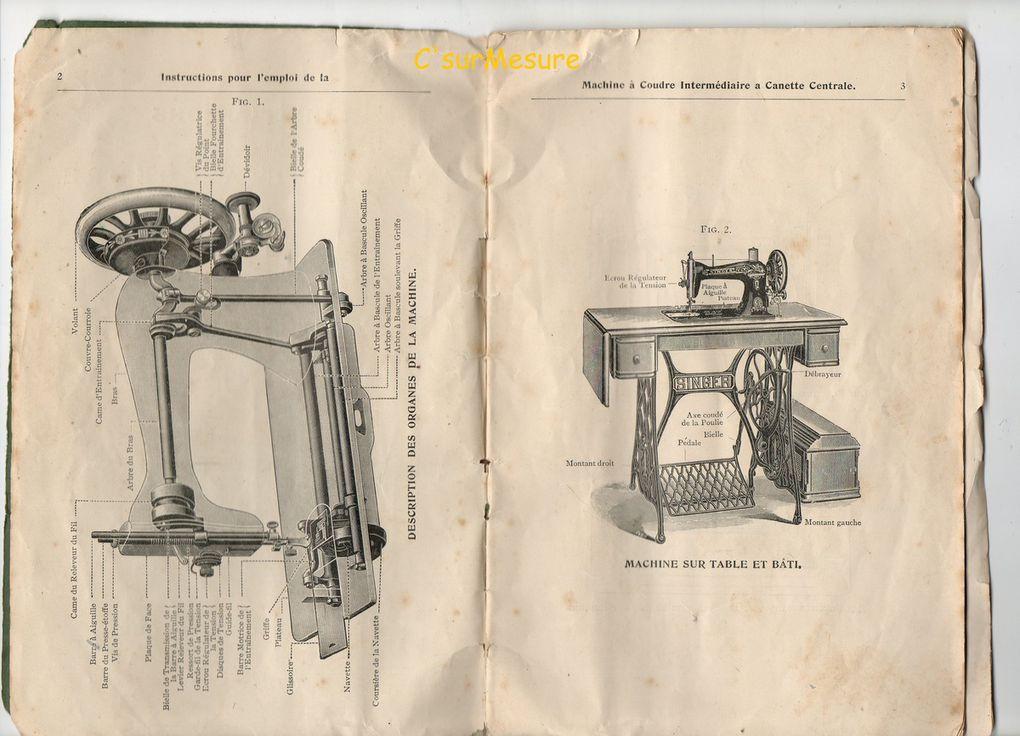 instructions pour l'emplois de la Machine à coudre (intermédiaire) à canette centrale.
