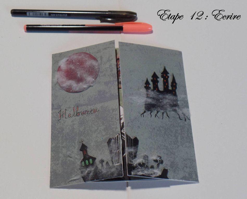 Les étapes - Carte - Halloween - 2017 - Portail - Chateau - Hantée - Lune - Rouge - Vampire - Bougie