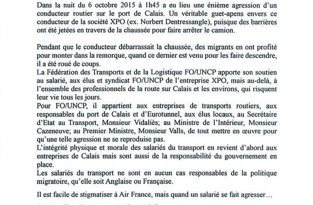Calais les salaries du transport en danger