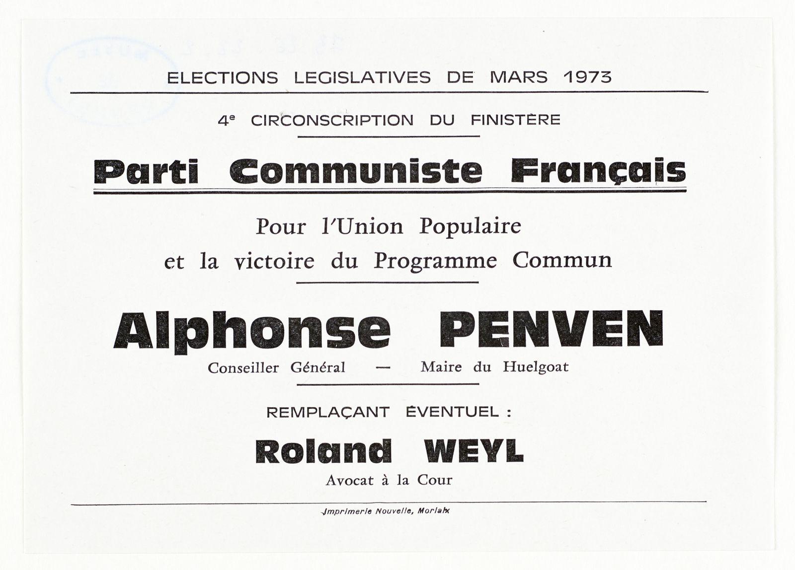 Quand Roland Weyl était candidat aux législatives à Morlaix avec Alphonse Penven en 1973
