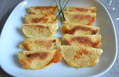 Mini-bouchées apéritives (façon quesadillas) au maroilles