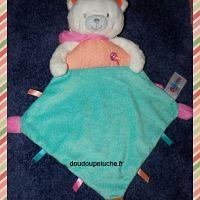 Doudou plat ours Oscar ouatoo, petit oiseau brodé, vert orange rose, doudoupeluche.fr