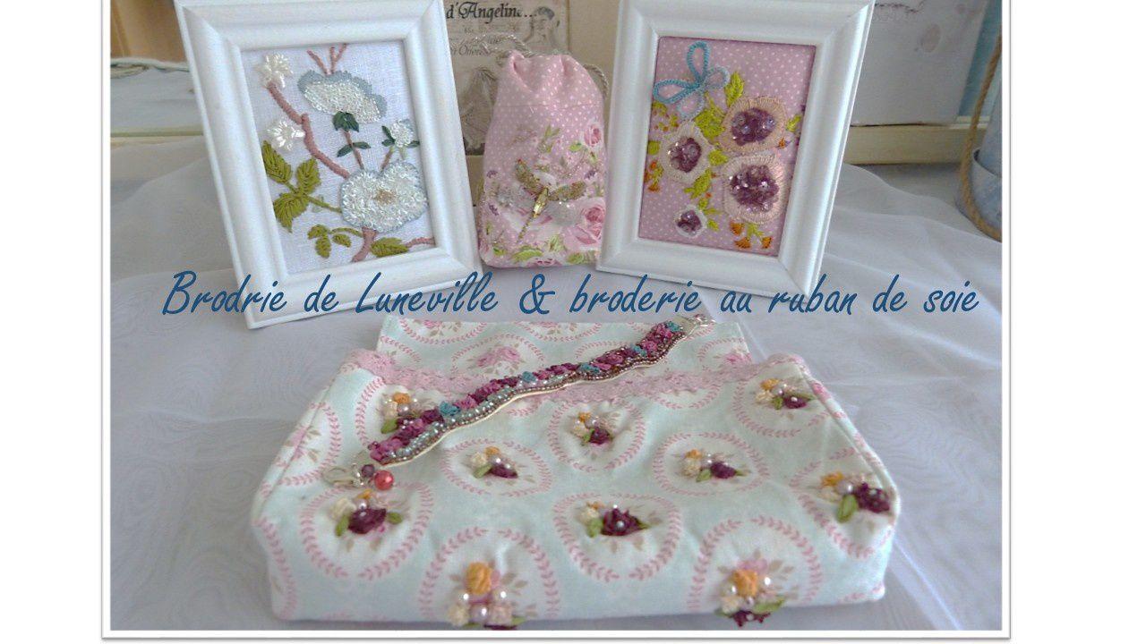 Broderie de Luneville et ruban de soie