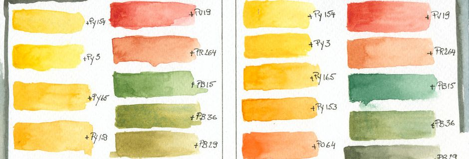 Daniel Smith Quinacridone Gold Old / New Mixing Chart Comparison