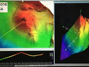 Bathymetry of Tagoro volcano - a click to enlarge - doc.Geociencias Marinas # Tagoro