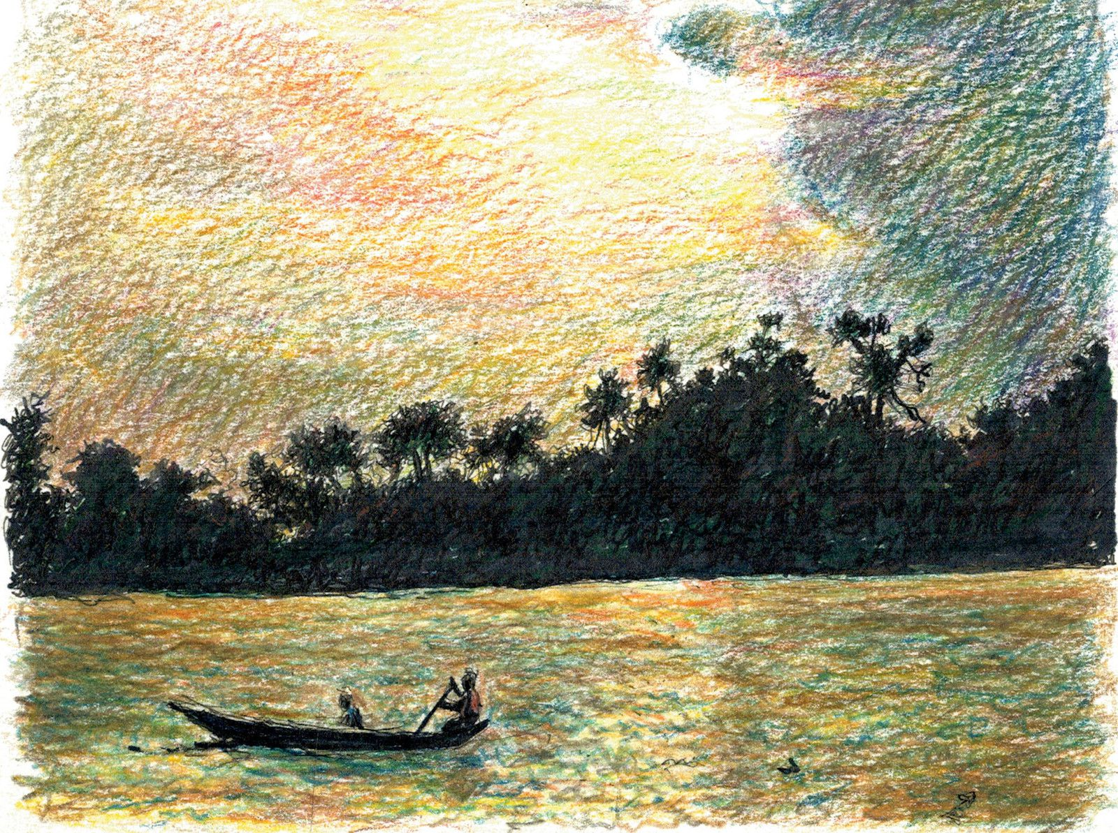 The Volta River, Ghana, coloured pencils and ink Helen Bar-Lev 2020