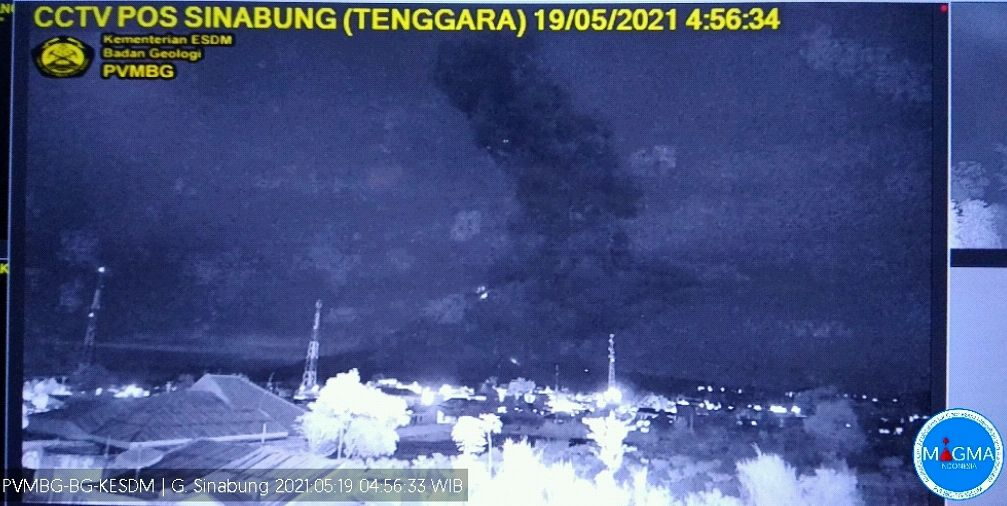 Sinabung - panache de cendres du 19.05.2021  / 04h56 WIB - screenshot  PVMBG-Magma Indonesia
