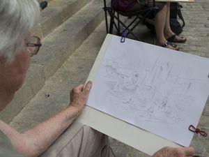 dessin de la Collégiale en extérieur, juillet 2019