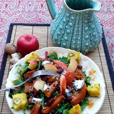 Salade Zoé et cubes de polenta grillée aux noisettes