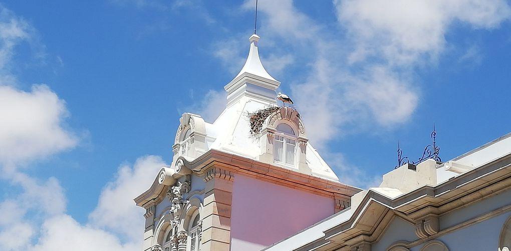 Porte de la vieille ville, statue du roi Alphonse III, scène de libération et cigognes.