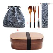 5.55US $ 15% OFF|Wooden Lunch Box Picnic Japanese Bento Box for School Kids Dinnerware Set with Bag&Spoon Fork Chopsticks Round Square Lunch Box|Lunch Boxes| - AliExpress