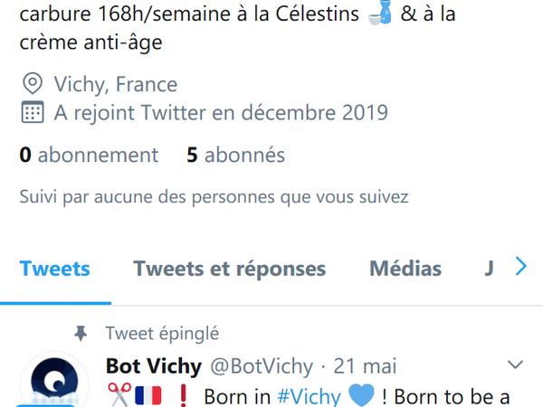"""Capture d'écran du compte Twitter """"Bot Vichy"""""""